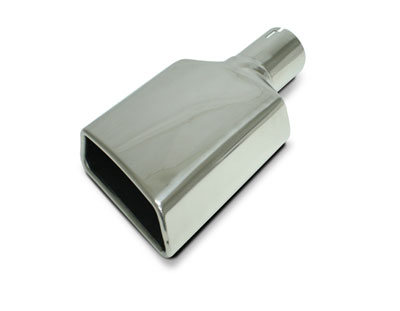 "Polished Rolled-Edge Trapeziod Exhaust Tip 2.53"" Inlet Passenger Side Angle Cut - Each"