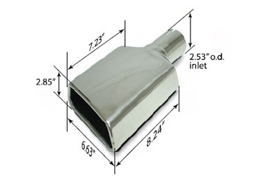 "Polished Rolled-Edge Trapeziod Exhaust Tip 2.53"" Inlet Passenger Side Angle Cut - Each Image #"