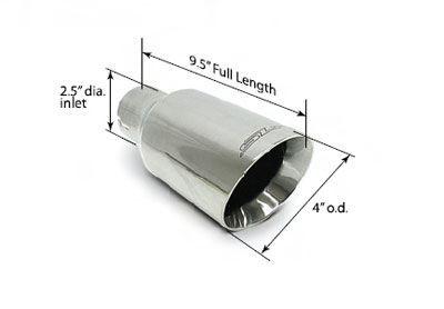 "Universal Polished 4"" Double-Wall Exhaust Tip 2.5"" Inlet - Each Image #"