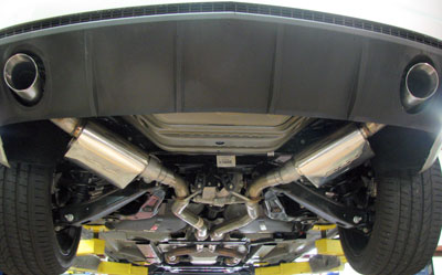 "2010-2015 Camaro V6 PowerFlo Axle Back Exhaust with 4"" Tips Image #"