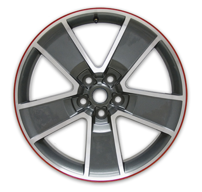 "2010-2014 Camaro 20"" Five Spoke Red Line Wheels - Gray with Machined Face Image #"