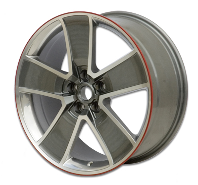 "2010-2014 Camaro 20"" Red-Line Wheels - Gray with Machined Face, Chrome-Like Windows Image #"