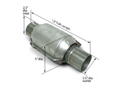 "High-Flow Catalytic Converter 2.5"" Inlet/Outlet 400 Cell Per Inch - Each"
